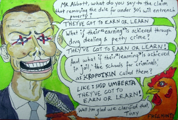Umberta Eggo, Chicken Philosopher, interviews Abbott about the Budget